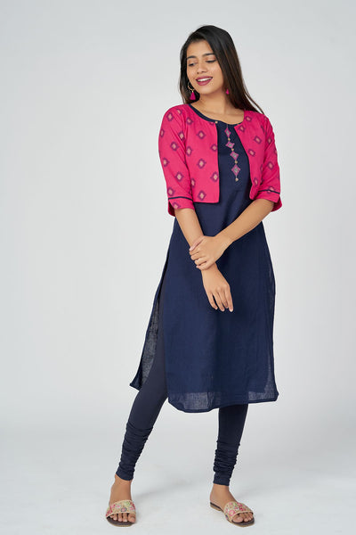 Aztec printed kurta with overcoat -Navy blue