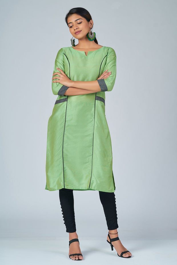 Maybell-Floral printed kurta with coat -Green and black1