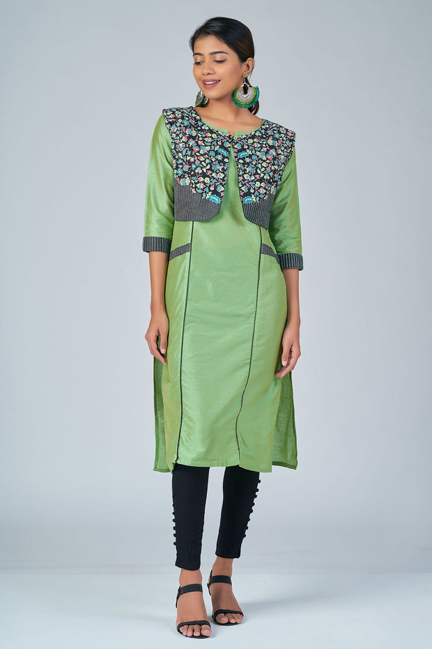 Maybell-Floral printed kurta with coat -Green and black2