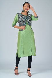 Maybell-Floral printed kurta with coat -Green and black3