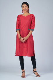 Maybell-Floral printed kurta with coat - Pink and black3