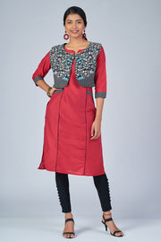 Maybell-Floral printed kurta with coat - Pink and black1