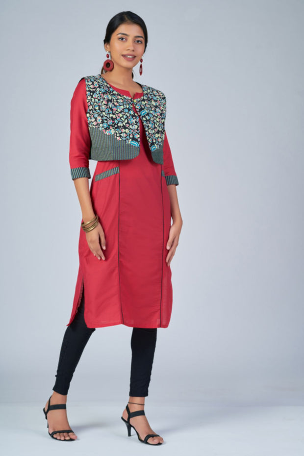 Maybell-Floral printed kurta with coat - Pink and black2