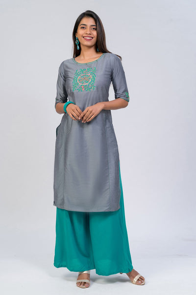 Maybell-Dragonfly embroidered kurta - Grey1
