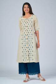 Maybell-Floral embroidered kurta - Beige2
