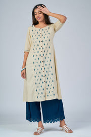 Maybell-Floral embroidered kurta - Beige3