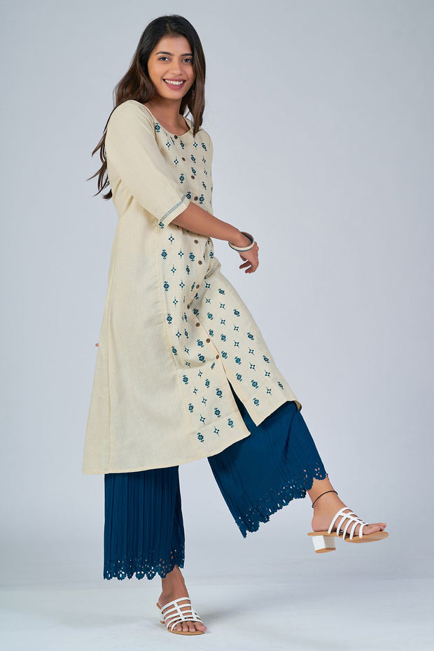 Maybell-Floral embroidered kurta - Beige