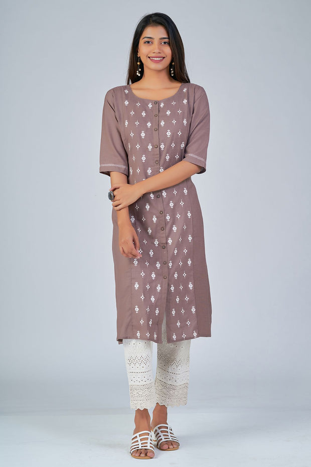 Maybell-Floral embroidered kurta - Brown