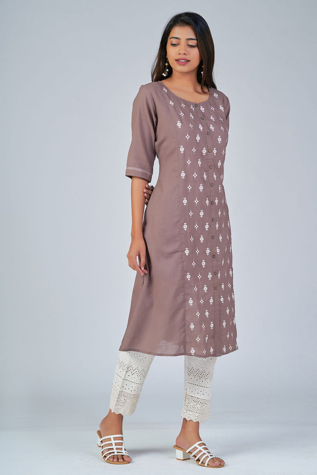 Maybell-Floral embroidered kurta - Brown1