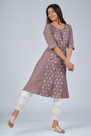 Maybell-Floral embroidered kurta - Brown2