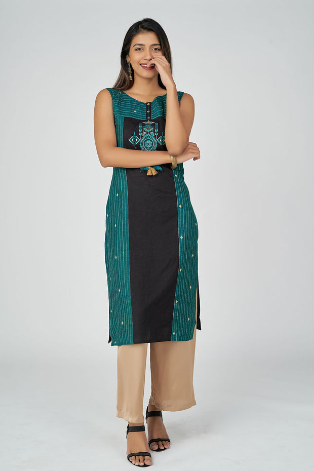 Tribal Wall art Kurta - Green & Black
