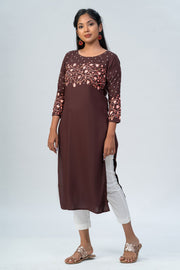 Maybell-Floral printed kurta - Brown
