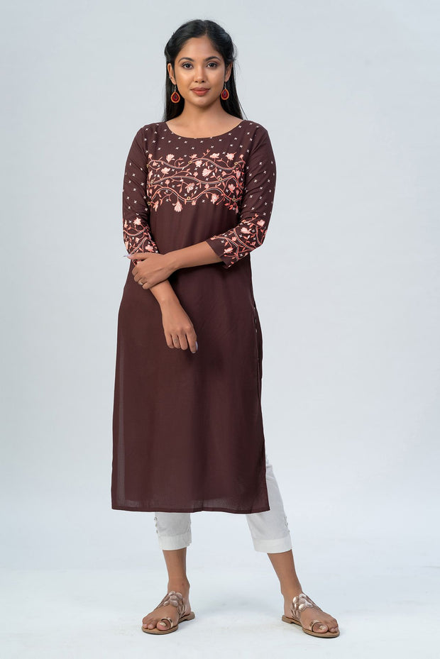 Maybell-Floral printed kurta - Brown-1