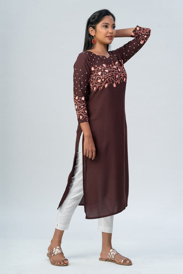 Maybell-Floral printed kurta - Brown-2