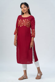 Maybell-Floral printed kurta -Red-2