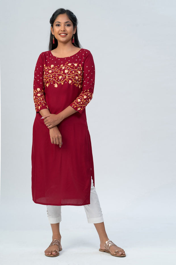 Maybell-Floral printed kurta -Red-3