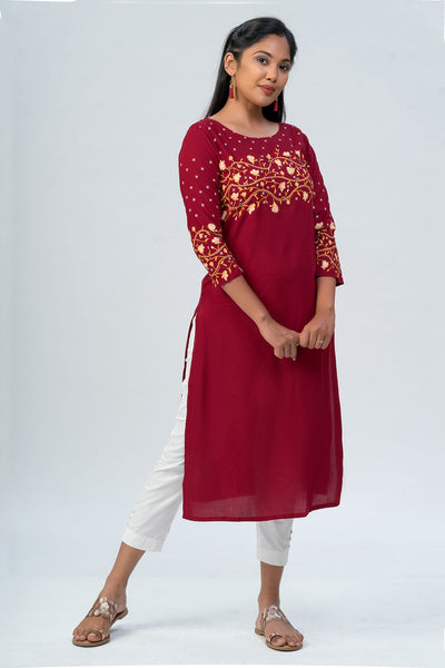 Maybell-Floral printed kurta -Red