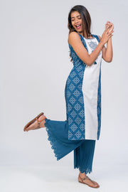 Maybell-Kolam embroidered and printed kurta - Blue4