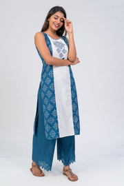 Maybell-Kolam embroidered and printed kurta - Blue1