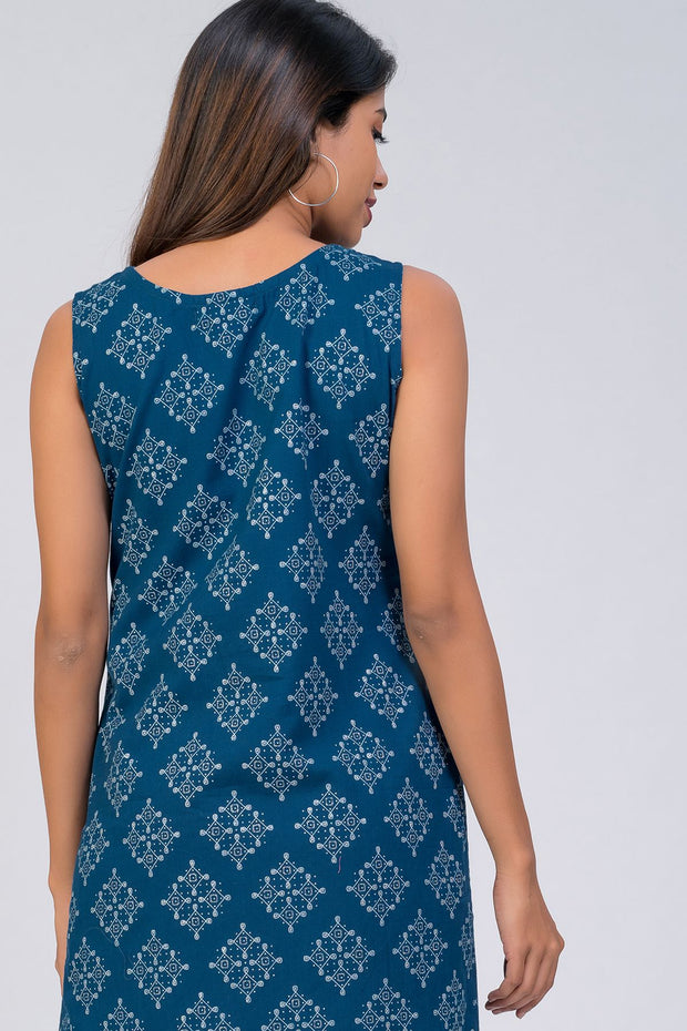 Maybell-Kolam embroidered and printed kurta - Blue6