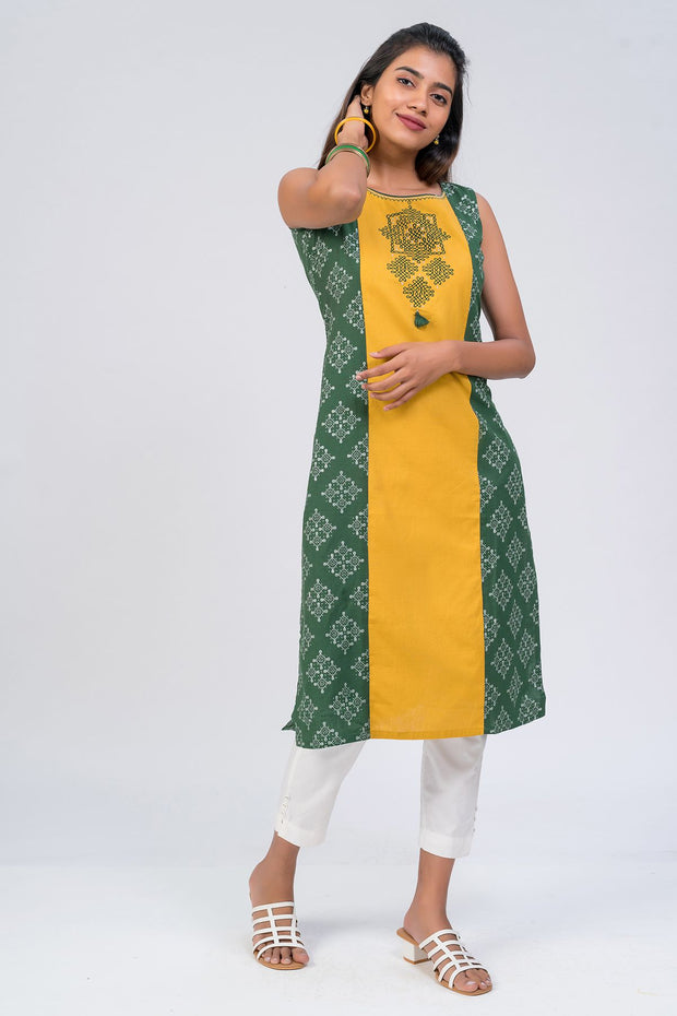 Maybell-Kolam embroidered and printed kurta - Green1