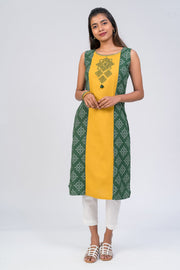 Maybell-Kolam embroidered and printed kurta - Green3