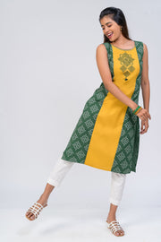 Maybell-Kolam embroidered and printed kurta - Green4