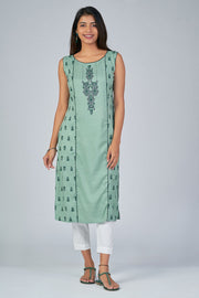 Maybell-Ikat printed kurta -Green5