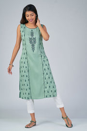 Maybell-Ikat printed kurta -Green2