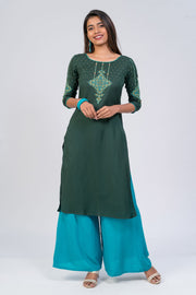 Maybell-Floral printed kurta - Dark Green1