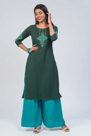 Maybell-Floral printed kurta - Dark Green2