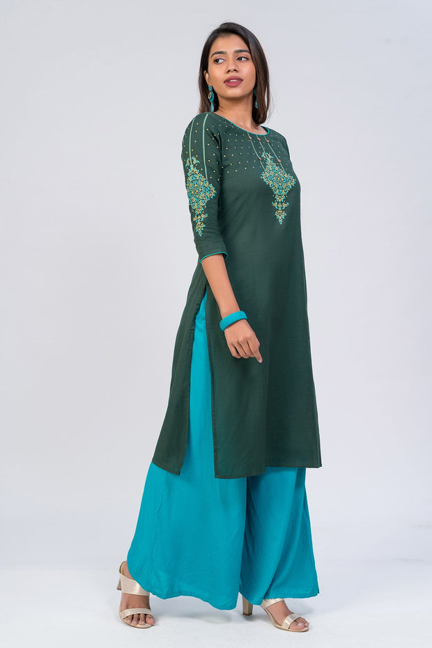 Maybell-Floral printed kurta - Dark Green3