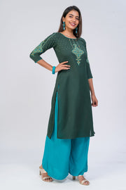 Maybell-Floral printed kurta - Dark Green4