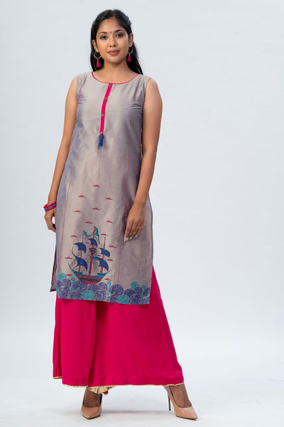 Maybell-Ornamental boat printed kurta - Grey