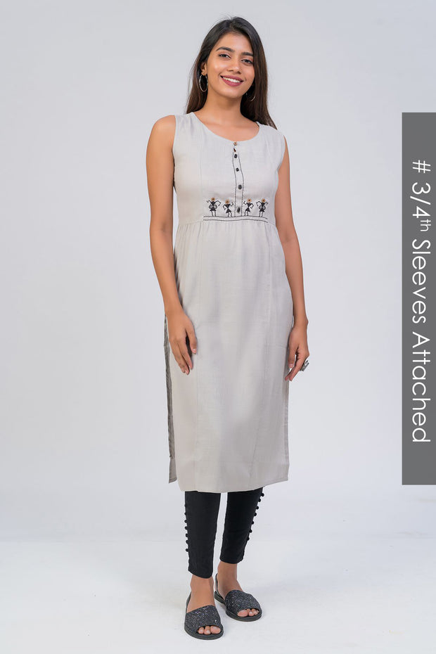 Maybell-Tribal embroidered kurta - Grey8