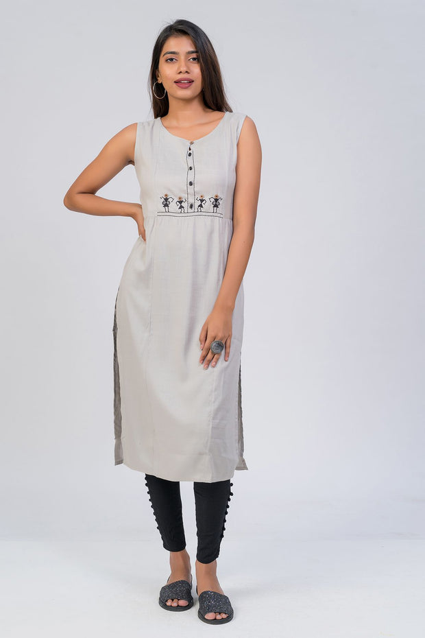 Maybell-Tribal embroidered kurta - Grey3