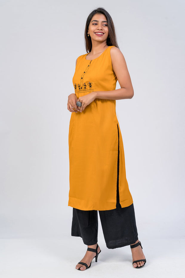 Maybell-Tribal embroidered kurta -Mustard2