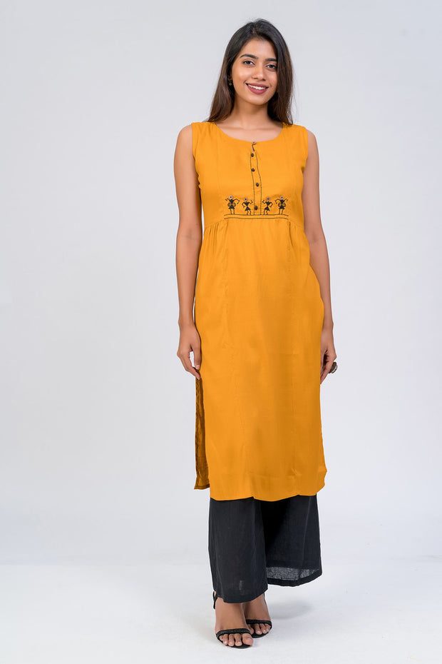 Maybell-Tribal embroidered kurta -Mustard3