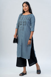 Maybell-Geometric printed kurta -Blue1