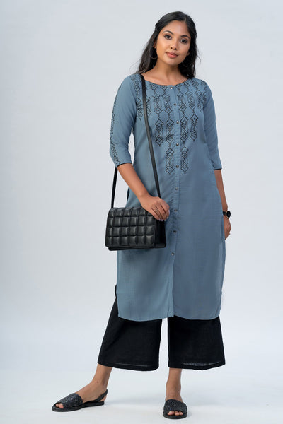 Maybell-Geometric printed kurta -Blue2