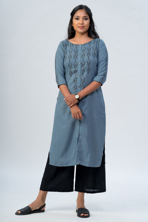 Maybell-Geometric printed kurta -Blue3