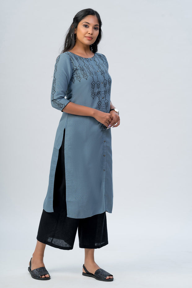 Maybell-Geometric printed kurta -Blue4