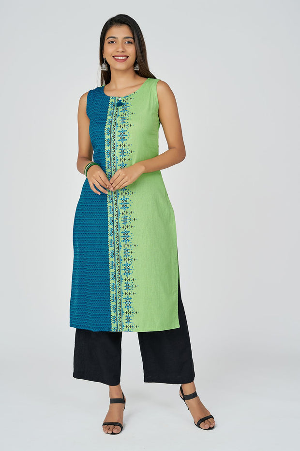Aztec Print Kurta With Cotton Jaquard - Mint  & Blue