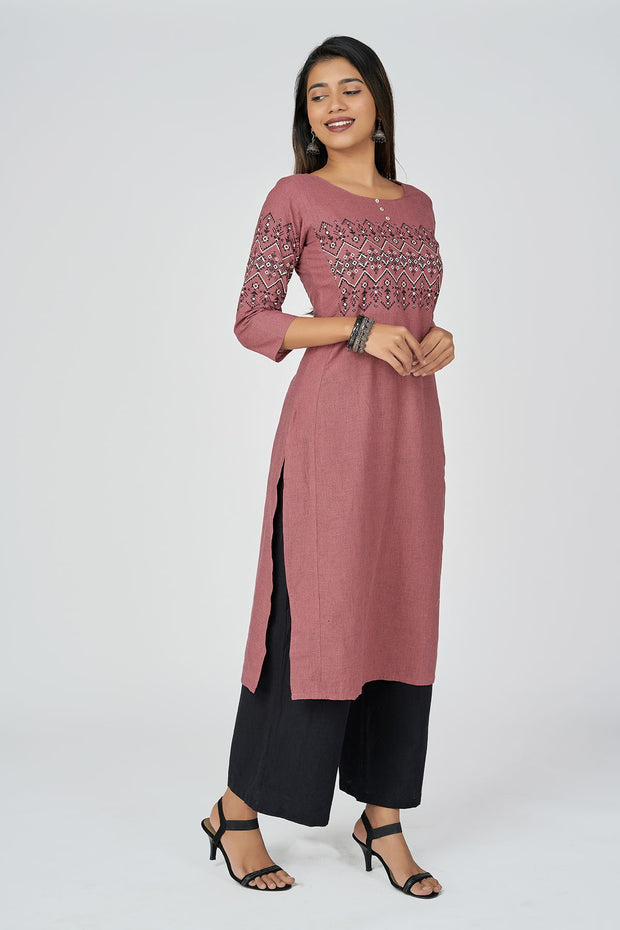 Aztec Print Kurta - Old Rose