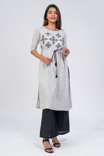 Foliage printed kurta - Grey