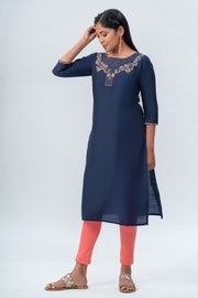 Maybell-Floral embroidered kurta-Navy blue-3