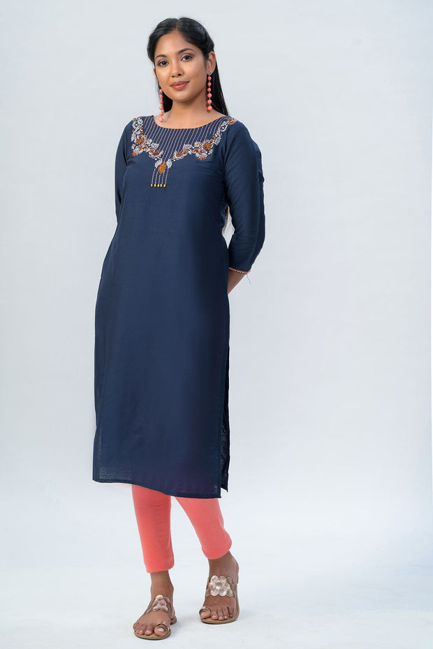 Maybell-Floral embroidered kurta-Navy blue