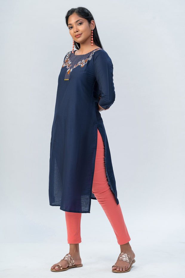 Maybell-Floral embroidered kurta-Navy blue-1