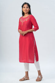 Maybell-Floral embroidered kurta-Red-1