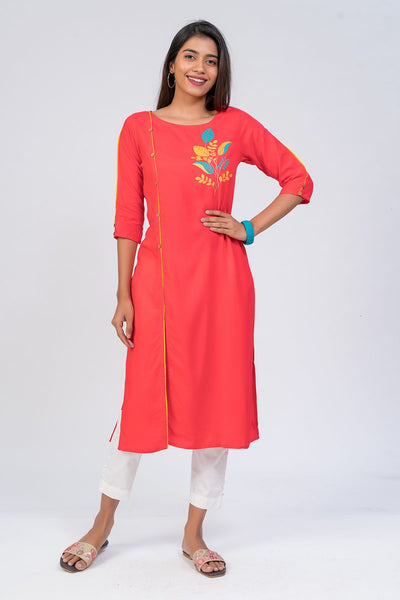 Maybell-Leaf printed kurta - Peach1